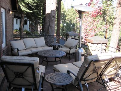 Outside seating area with beautiful views of the Sierras.