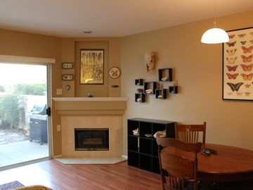 Goleta condo rental - Main floor included gas fireplace, open eating/living area.