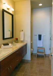 2nd Level Ensuite Bathroom with shower and bath tub
