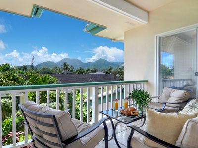 Relax and enjoy the view in the upstairs lanai