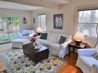 West Tisbury house photo - Main House Living Room Is Sunny With French Doors That Open To Patio & Gardens