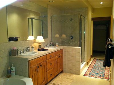 Huge master bath! Jacuzzi, oversize shower, private commode, walk-in closet.