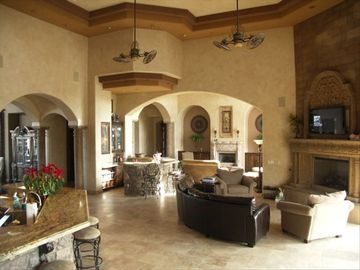 Greatroom with large Canterra Stone gas fireplace.