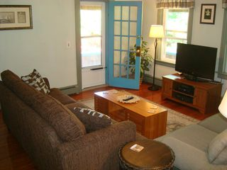 Narragansett Pier house photo - Living room with french door to porch and deck