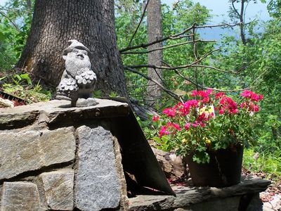 My garden gnome keeps an eye on things