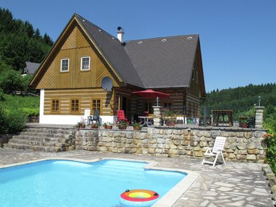 Comfortable villa with private swimming pool in hill rich landscape of Stupna