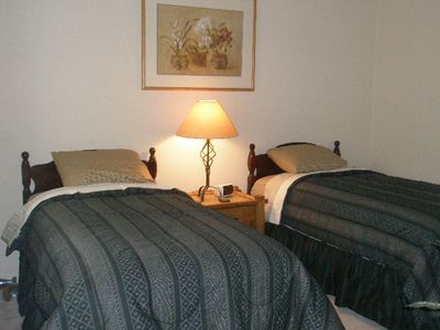 Second bedroom, beds can be configured to Queen size on request.
