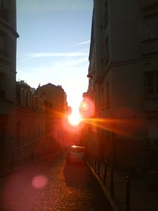 Paris - Montmartre - Sun set on nearby rue Berthe.