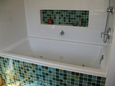 Master bathroom two-person whirlpool tub