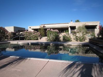 Borrego Springs house rental - Sparkling pool under palm grove on south side of home...(not heated in winter)