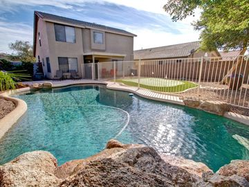 Maricopa house rental - Gorgeous Sparkling Pool with waterfall, basketball net and outdoor shower.
