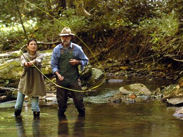 fly fishing in the creek
