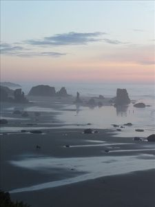 Amazing sea stacks, tidepools and caves of Bandon's beach are just minutes away!