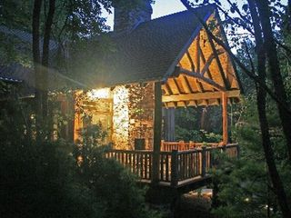 Black Mountain house photo - Enjoy a cool evening by the outdoor fireplace.
