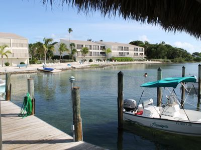 A view of the beach and complex from the dock, great fishing too.