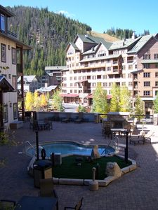 View from our unit: amenity deck, Zephyr lodge, ski slopes, top of Zephyr lift