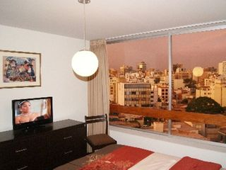 Lima condo photo - 2nd BR with great city views and double bed.