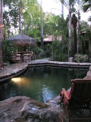 Ojai estate photo - Exotic Pool, Spa, Tiki Huts, 500 Palms, Outdoor Fireplace and Dining