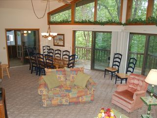 Massanutten house photo - Great room with living dining area vaulted ceiling