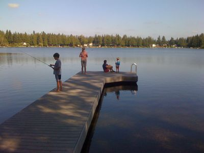 New trex dock (2007) - ideal for fishing (lake is stocked with trout and bass).
