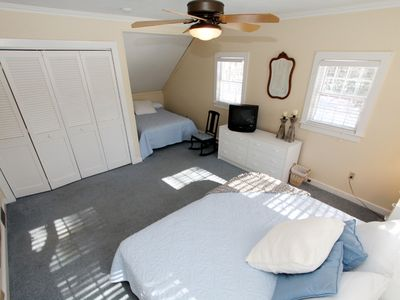 Brewster house rental - First floor bedroom w/ king and full beds. Can be used as master, adjacent bath.