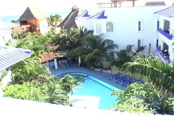 View From Our Rooftop Patio Above Condo del Arbol,Of Our Pool and Beach and  Sea