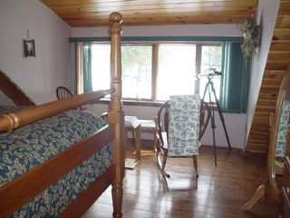 Lee cabin photo - Really high queen bed overlooks Silver Lake in the loft master BR.