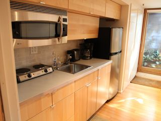 Brooklyn apartment photo - kitchen with convection oven, burners, and closets