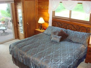 Wisconsin Dells house photo - King Bed w/32' TV/DVD/Cable, sliding doors to deck with Lake View