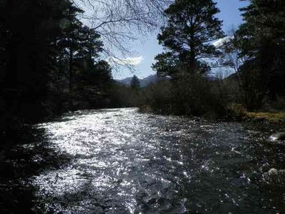 River looking to the West, mountains and beautiful Rocky Mountain National Park!