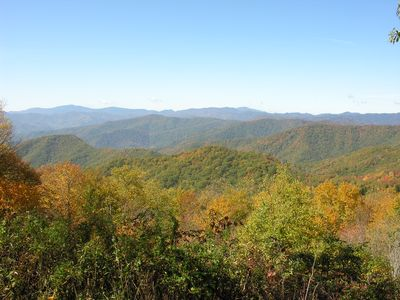 A view from the Wesser Bald fire tower. Well worth the hike.