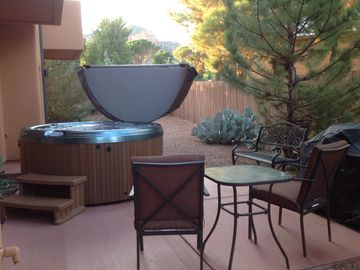 Sedona townhome rental - Back Patio - private hot tub, propane grill, outdoor dining.