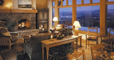 Magnificent views from the Great Room with wood burning fireplace
