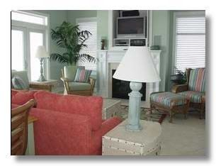 Garden City Beach house photo - Oceanfront family room with fireplace