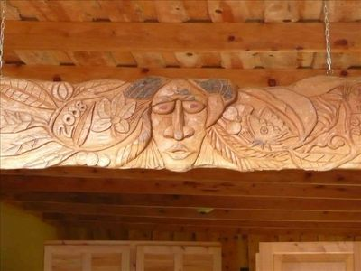 Custom wood carvings throughout