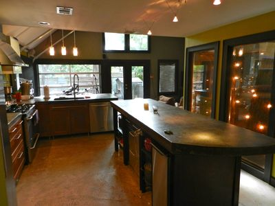 Kitchen, Notice Glass Garage Door in back.