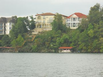View of Villa Belvedere from Lake Hamilton (the home in the center).