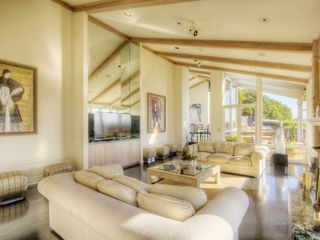 Living room looking at hot tub, fireplace and SF Bay. - Tiburon house vacation rental photo