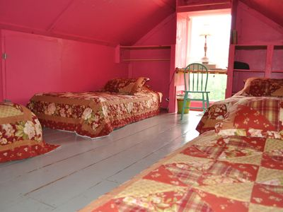 Bar Harbor cottage rental - Bedroom 4, 4 twin beds .