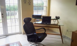 St. Croix house photo - Glass top desk with WiFi, printer, and phone.