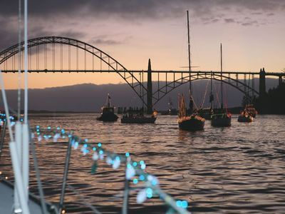 Lighted Boat Parade in December  Yaquina Bay, Newport, Oregon