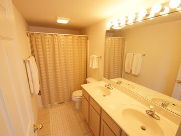 The Master Bath offers a Double Vanity and Tub/Shower Combo