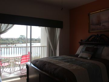 Lake View, Queen Bed and New Bedding.
