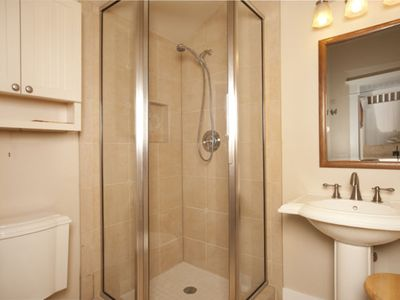 Bathrooms main level and lower level. Floor and shower has rediant heated floors