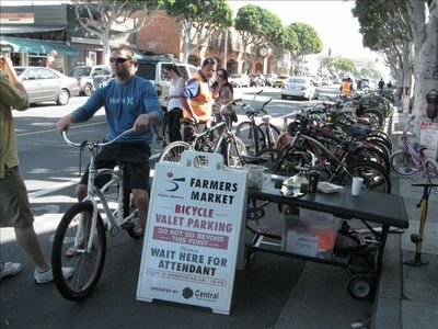 VALET PARK YOUR BIKE at the Farmer's Market a few blocks away.