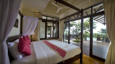 Bedroom two with super king size bed and seaview