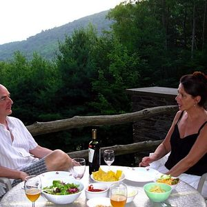 Wells chalet rental - Dine on the deck.