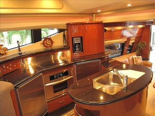 Aventura yacht photo - Full gourmet kitchen with dishwasher, oven, microwave, coffee machine, etc.