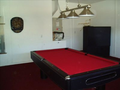 "Slate bed professional pool table and 60"" TV"