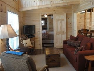 Berkeley Springs cabin photo - Living Room with queen sleep sofa and Master Suite